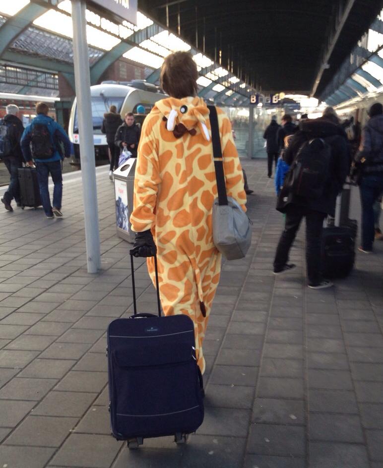 Giraffe am Bahnhof